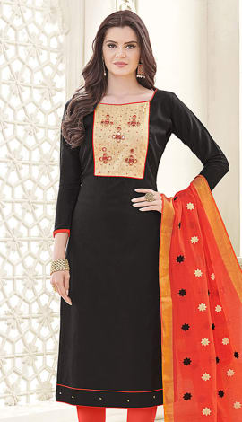 Black Banglori Cotton Salwar Kameez