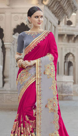 Pink & Grey Georgette Padding Silk Saree