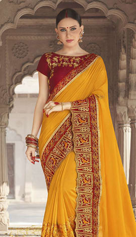 Yellow Georgette Padding Silk Saree