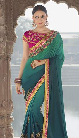 Green Georgette Padding Silk Saree