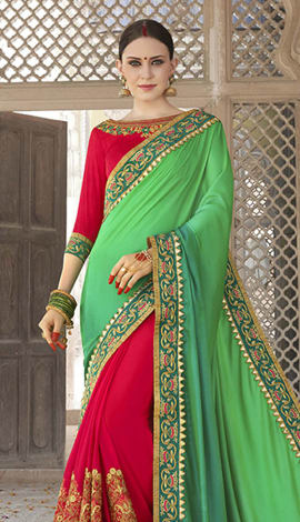 Red & Green Georgette Padding Silk Saree