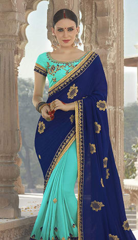 Sky Blue & Blue Georgette Padding Silk Saree