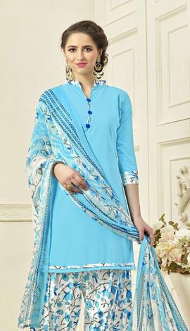 Blue Crepe Salwar Kameez