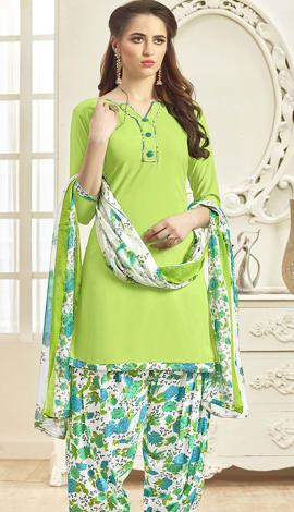 Green (Parrot) Crepe Salwar Kameez