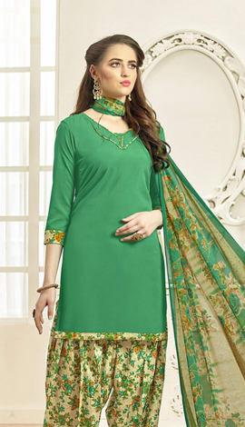 Green (Dark) Crepe Salwar Kameez
