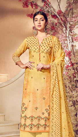 Yellow Pure Lawn Cotton With Pure Digital Print Salwar Kameez