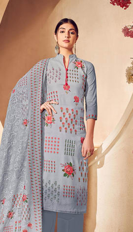 Grey Pure Lawn Cotton With Pure Digital Print Salwar Kameez