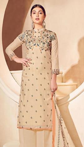 Beige Pure Lawn Cotton With Pure Digital Print Salwar Kameez