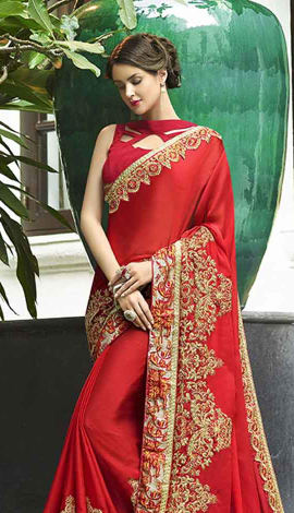 Red Fancy Fabric Saree