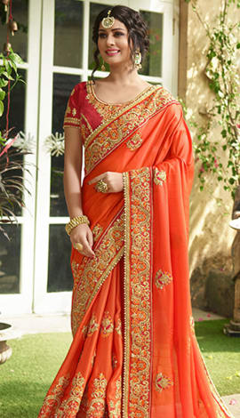 Orange Satin Saree