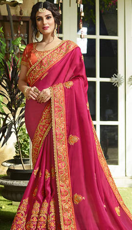 Pink Satin Saree