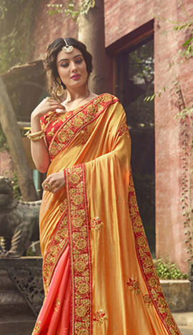 Yellow Tussar Silk (Poly Silk) Saree