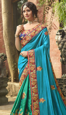 Blue Tussar Silk (Poly Silk) Saree