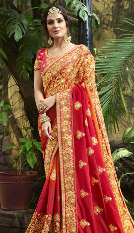 Red, Orange Tussar Silk (Poly Silk) Saree