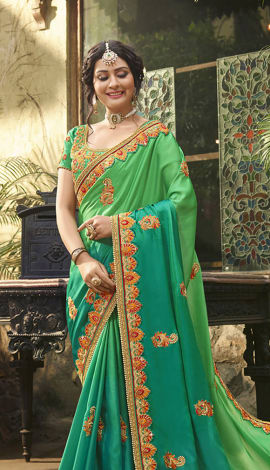Green Satin Saree