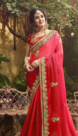 Peach, Red Satin Saree