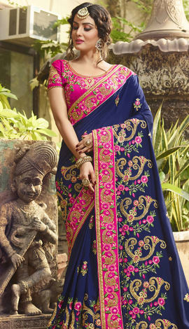 Navy Blue Poly Silk Saree