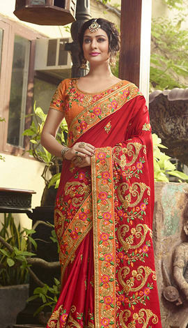Red (Tomato Red) Poly Silk Saree