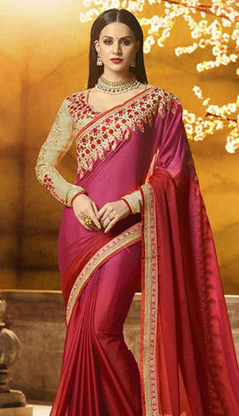 Mroon, Magenta Georgette Saree
