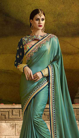 Peacock Green Poly Silk (Two Tone Silk) Saree