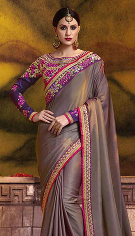 Brown (Acajou) Poly Silk (Two Tone Silk) Saree