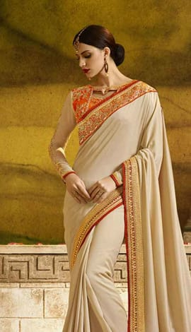 Beige Poly Silk Saree