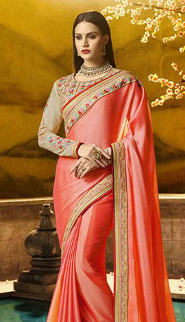 Peach Chiffon Georgette Saree