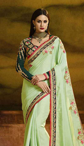 Green Poly Silk Saree