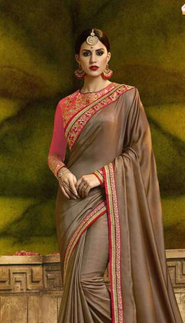 Brown Poly Silk Saree