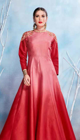 Red Modal Satin-(Pure Feb) Gowns