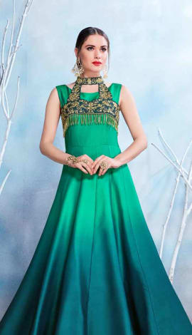 Green Modal Satin-(Pure Feb) Gowns