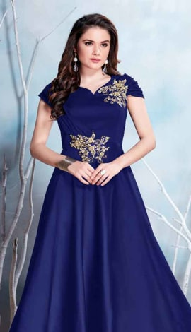 Blue Modal Satin-(Pure Feb) Gowns