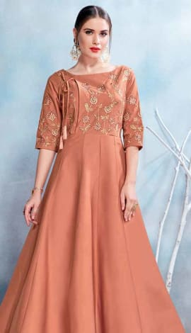 Brown Modal Satin-(Pure Feb) Gowns