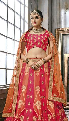 Red & Orange Art Silk Lehenga