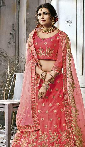 Pink Art Silk Lehenga