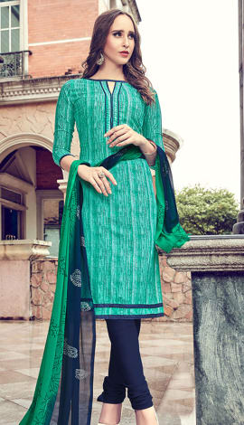 Turquoise Cotton Salwar Kameez
