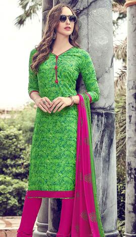 Green Cotton Salwar Kameez