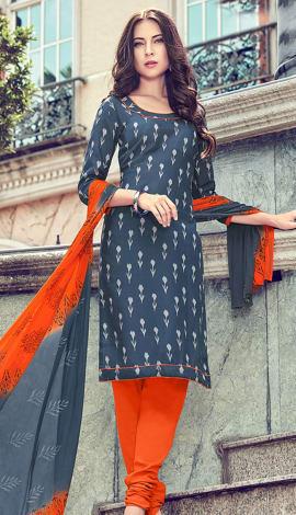 Grey (Bluish Grey) Cotton Salwar Kameez