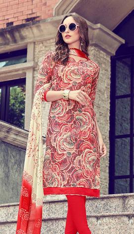 Beige, Red, Multi Cotton Salwar Kameez