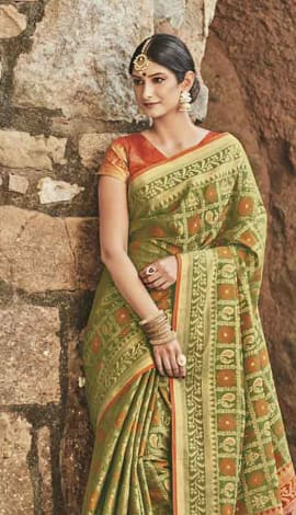 Light Green Patola Silk Saree