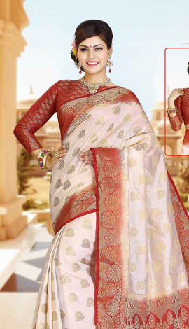 Chickoo & Red Art Silk Tussar Saree