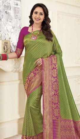 Green Gold Banarasi Art Silk Saree