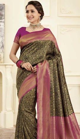 Black Gold Banarasi Art Silk Saree