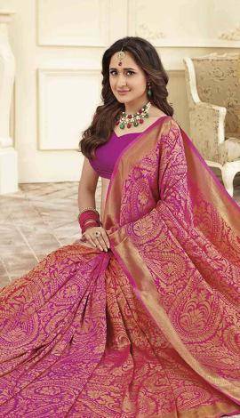 Pink Gold Banarasi Art Silk Saree