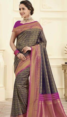 Blue Gold Banarasi Art Silk Saree