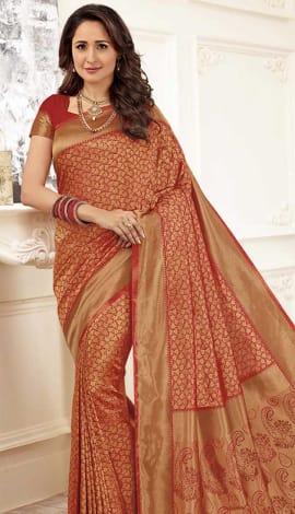 Red Gold Banarasi Art Silk Saree