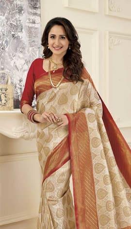 Cream Gold Banarasi Art Silk Saree