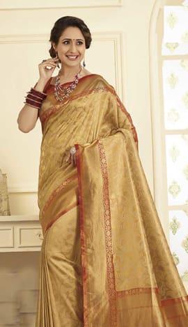 Beige Gold Banarasi Art Silk Saree
