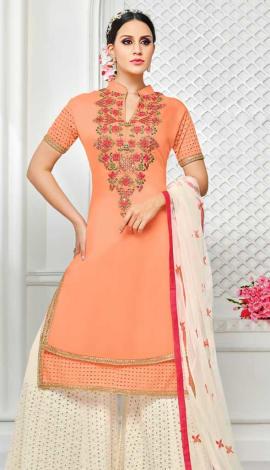 Peach Muslin Silk Salwar Kameez