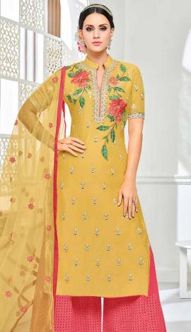 Yellow Muslin Silk Salwar Kameez